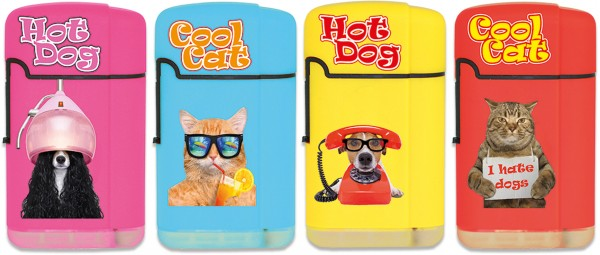 B!FLAME Soft-Touch Jet-Flame Cool Cats & Hot Dogs
