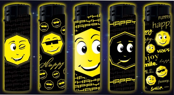 B!FLAME Premium-Feuerzeug Happy Glow in the Dark