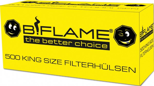 "B!FLAME King Size Filterhülsen ""Happy"" 500er"